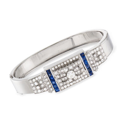 C. 1950 Vintage 2.60 ct. t.w. Diamond and 1.50 ct. t.w. Sapphire Bangle Bracelet in 14kt White Gold