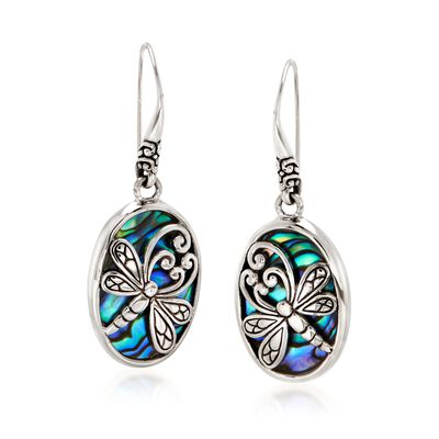 Abalone Shell and Sterling Silver Dragonfly Oval Drop Earrings #900921