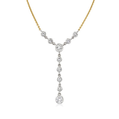 C. 1980 Vintage 3.00 ct. t.w. Diamond Y-Necklace in 18kt Two-Tone Gold