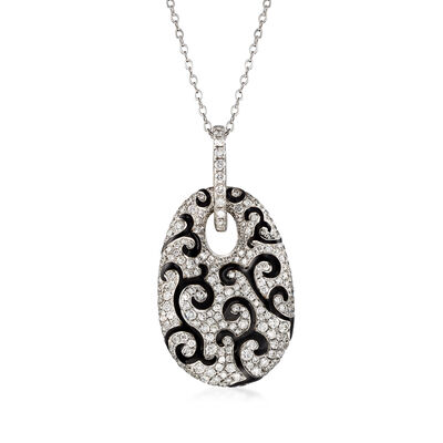 C. 1990 Vintage 5.26 ct. t.w. Diamond and Black Enamel Swirl Pendant Necklace in 18kt White Gold, , default