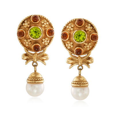 C. 1980 Vintage Cultured Pearl and Multi-Gem Drop Earrings in 14kt Yellow Gold, , default