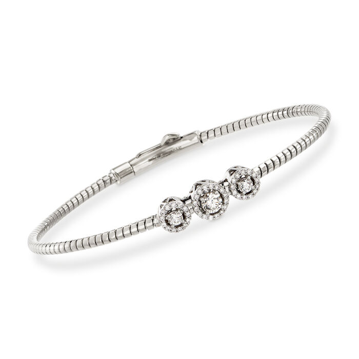 "Simon G. .22 ct. t.w. Diamond Three-Station Bangle Bracelet in 18kt White Gold. 7"", , default"