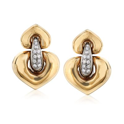 C. 1980 Vintage .55 ct. t.w. Diamond Heart-Shaped Doorknocker Earrings in 18kt Yellow Gold, , default