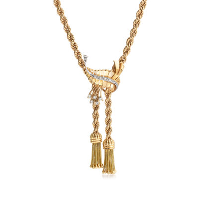 C. 1970 Vintage .30 ct. t.w. Diamond Leaf Tassel Necklace in 18kt Yellow Gold, , default