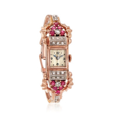 C. 1940 Vintage Bulova Women's 1.20 ct. t.w. Ruby and .50 ct. t.w. Diamond 13mm Watch in 14kt Rose Gold, , default