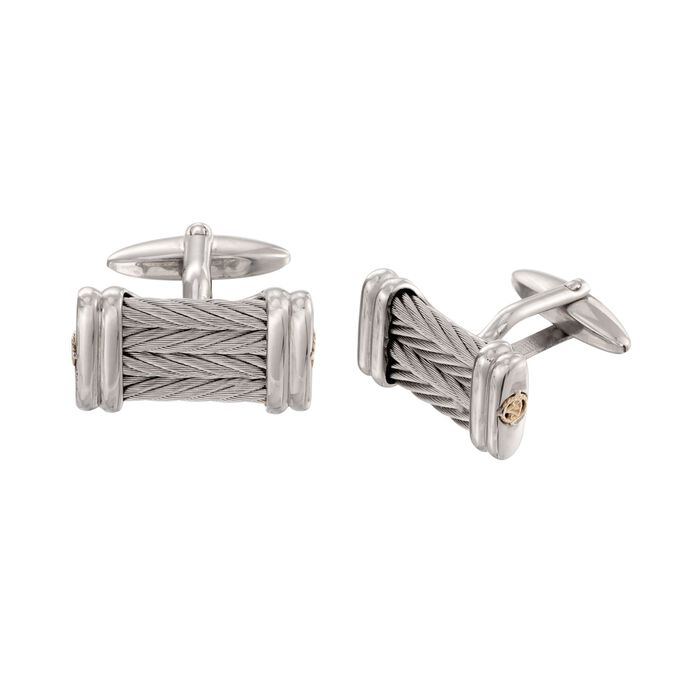 ALOR Cable Cufflinks in Stainless Steel and 18-Karat Yellow Gold, , default
