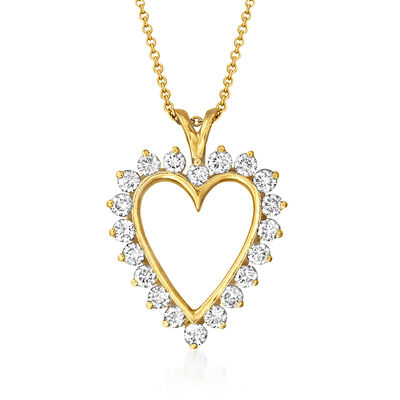 C. 1980 Vintage 1.60 ct. t.w. Diamond Heart Pendant Necklace in 14kt Yellow Gold