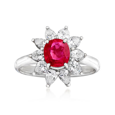 C. 2010 Vintage 1.16 Carat Certified Ruby and 1.07 ct. t.w. Diamond Flower Ring in Platinum, , default