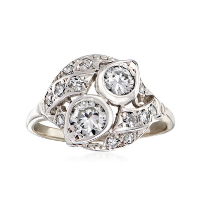 C. 1950 Vintage .80 ct. t.w. Diamond Cluster Ring in 14kt White Gold