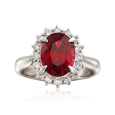 C. 1990 Vintage 4.14 Carat Garnet and .48 ct. t.w. Diamond Ring in Platinum, , default