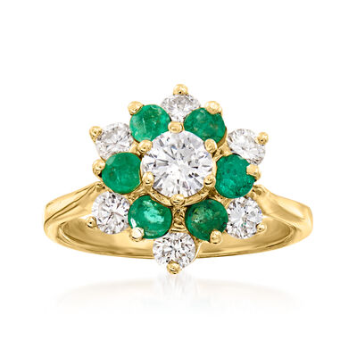 C. 1970 Vintage 1.35 ct. t.w. Diamond and .75 ct. t.w. Emerald Flower Ring in 14kt Yellow Gold