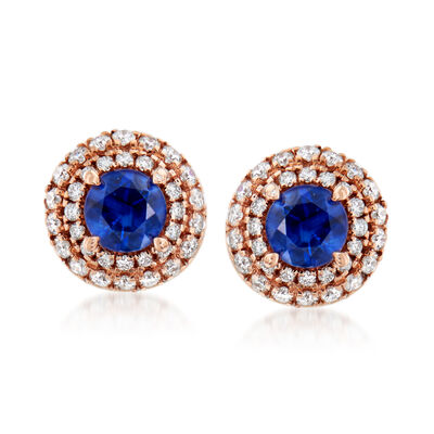 C. 1990 Vintage .70 ct. t.w. Sapphire and .60 ct. t.w. Diamond Earrings in 18kt Rose Gold