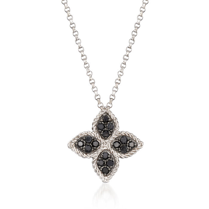 "Roberto Coin ""Princess Flower"" .38 ct. t.w. Black and White Diamond Flower Pendant Necklace in 18kt White Gold"