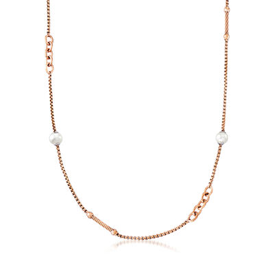 "ALOR ""Chain Reaction"" Cultured Pearl Rose-Hued Stainless Steel Necklace"