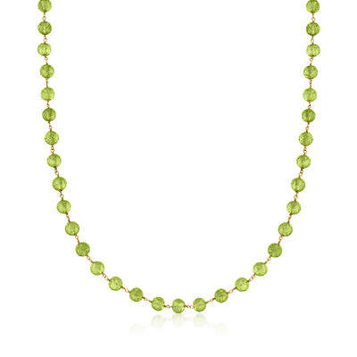 C. 1980 Vintage 66.00 ct. t.w. Peridot Bead Necklace in 14kt Yellow Gold