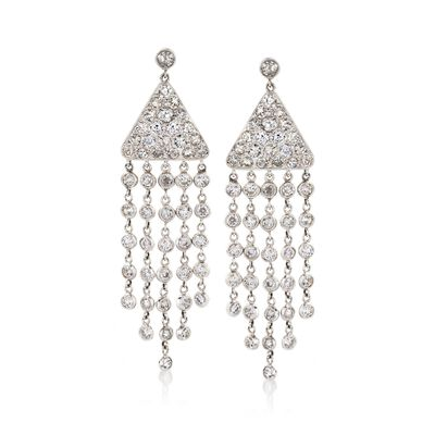 C. 1990 Vintage 4.25 ct. t.w. Diamond Fringe Drop Earrings in Platinum, , default