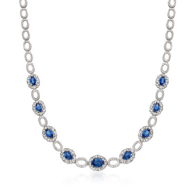 7.90 ct. t.w. Sapphire and 1.50 ct. t.w. Diamond Oval-Link Necklace in 14kt White Gold
