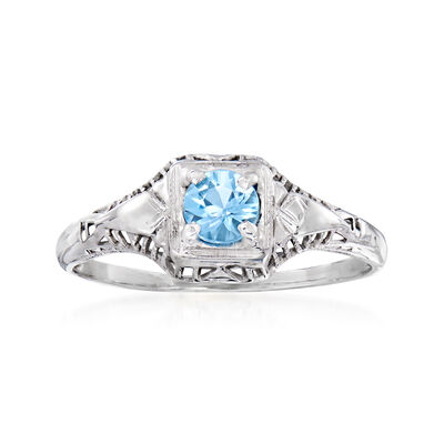 C. 1930 Vintage .22 Carat Aquamarine Ring in 18kt White Gold