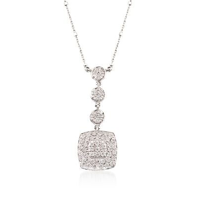 ALOR .46 ct. t.w. Diamond Multi-Tier Square Pendant Necklace in 18kt White Gold