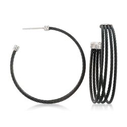 "ALOR ""Noir"" Black Stainless Steel Multi-Cable Hoop Earrings With 18kt White Gold, , default"