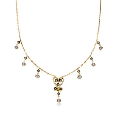 C. 2000 Vintage 1.00 ct. t.w. Smoky Quartz and .20 ct. t.w. Diamond Beaded Station Necklace in 14kt Yellow Gold