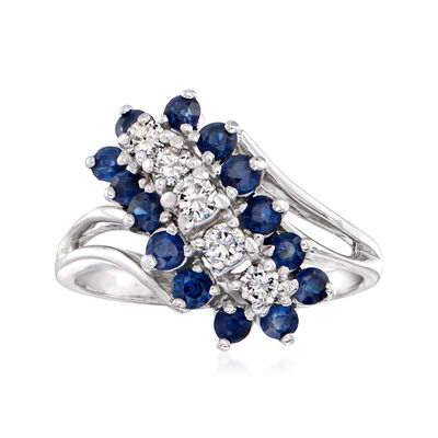 C. 1970 Vintage 1.00 ct. t.w. Sapphire and .35 ct. t.w. Diamond Cluster Ring in 14kt White Gold