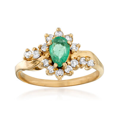 C. 1980 Vintage .35 Carat Emerald and .30 ct. t.w. Diamond Ring in 14kt Yellow Gold, , default