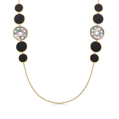 "C. 2000 Vintage Ippolita ""Rock Candy"" Onyx and Mother-Of-Pearl Station Necklace in 18kt Yellow Gold, , default"