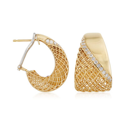 Roberto Coin .40 ct. t.w. Diamond Hoop Earrings in 18kt Yellow Gold