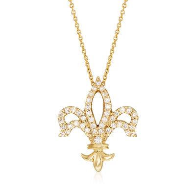 Roberto Coin .25 ct. t.w. Diamond Fleur De Lis Necklace in 18kt Yellow Gold, , default