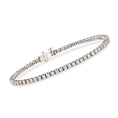 C. 1990 Vintage 3.35 ct. t.w. Diamond Tennis Bracelet in 18kt White Gold, , default