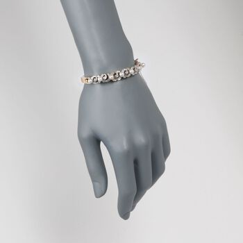 """C. 1950 Vintage 4.5-5mm Cultured Pearl and .60 ct. t.w. Diamond Bangle Bracelet in 14kt Yellow Gold. 7"""", , default"""