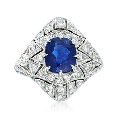 C. 1990 Vintage 2.28 Carat Sapphire and 1.25 ct. t.w. Diamond Filigree Ring in 18kt White Gold
