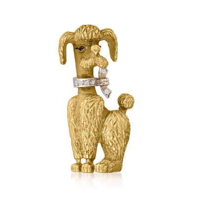 C. 1970 Vintage 14kt Yellow Gold Poodle Pin with Black Enamel Eyes and Diamond-Accented Collar