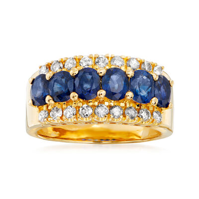 C. 1980 Vintage 2.45 ct. t.w. Sapphire and .48 ct. t.w. Diamond Ring in 18kt Yellow Gold