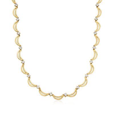 C. 1980 Vintage 3.30 ct. t.w. Diamond Scalloped Necklace in 14kt Yellow Gold