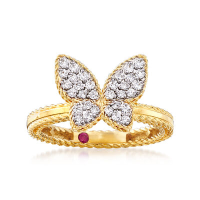 "Roberto Coin ""Princess"" .15 ct. t.w. Diamond Butterfly Ring in 18kt Two-Tone Gold, , default"