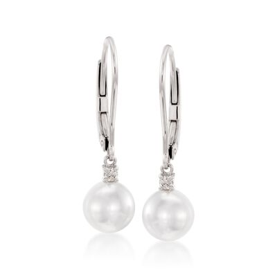 Mikimoto 7mm A+ Akoya Pearl Drop Earrings with Diamonds in 18kt White Gold