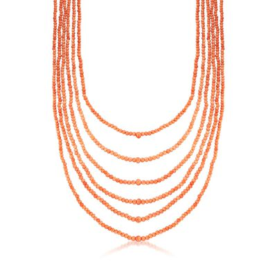 C. 1960 Vintage 3mm Coral Bead Multi-Strand Necklace with Goldtone, , default