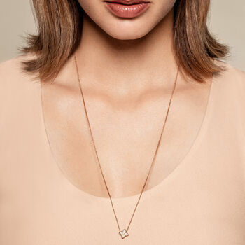"""Roberto Coin """"Venetian Princess"""" .20 ct. t.w. Diamond Double Chain Flower Pendant Necklace in 18kt Rose Gold, , default"""