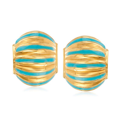 C. 1990 Vintage Puffed Dome Earrings with Blue Enamel in 14kt Yellow Gold, , default