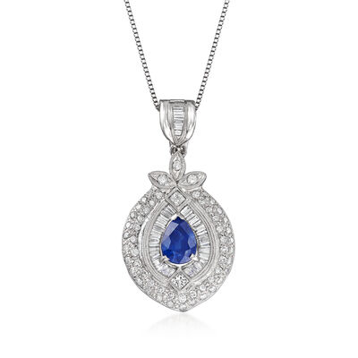 C. 1980 Vintage 3.30 Carat Sapphire and 1.00 ct. t.w. Diamond Pendant Necklace in Platinum, , default