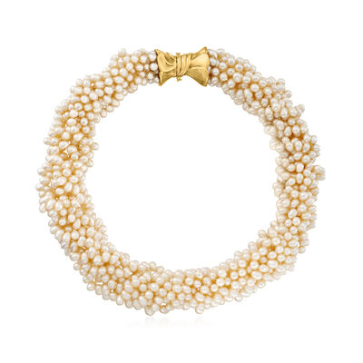 C. 1990 Vintage Cultured Pearl Multi-Strand Necklace with 14kt Yellow Gold