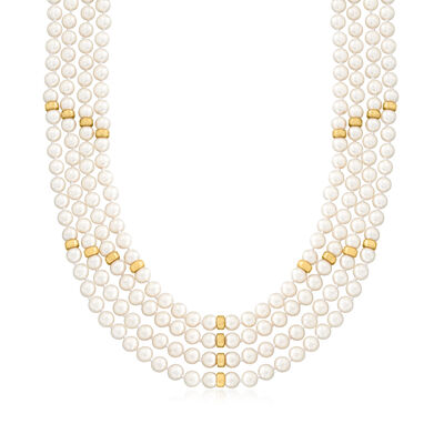 C. 1980 Vintage 6.5x7mm Cultured Pearl Multi-Strand Necklace with .30 ct. t.w. Rubies and .10 ct. t.w. Diamonds in 14kt Yellow Gold