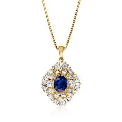 C. 1980 Vintage 2.38 Carat Sapphire and 2.11 ct. t.w. Diamond Pendant Necklace in 18kt Yellow Gold