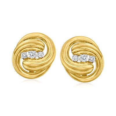 C. 1980 Vintage .80 ct. t.w. Diamond Knot Clip-On Earrings in 18kt Yellow Gold