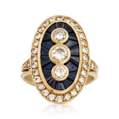 C. 1980 Vintage 1.25 ct. t.w. Diamond and 1.10 Sapphire Ring in 18kt Yellow Gold, , default