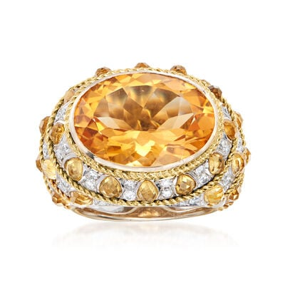 C. 1990 Vintage 12.90 ct. t.w. Citrine and .80 ct. t.w. Diamond Ring in 18kt Yellow Gold