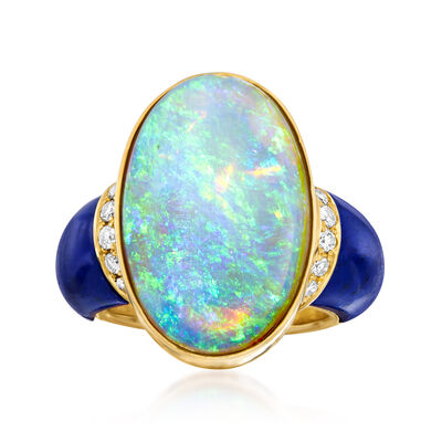 C. 1980 Vintage Opal, Lapis and .26 ct. t.w. Diamond Ring in 18kt Yellow Gold