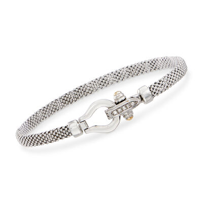 "Phillip Gavriel ""Popcorn"" Sterling Silver Bracelet with 18kt Gold and Diamond Accents, , default"